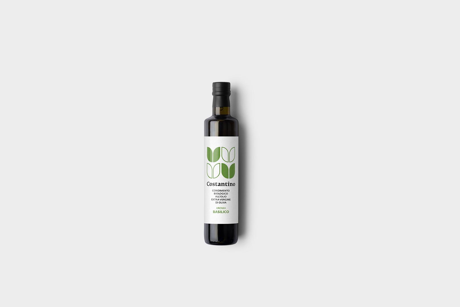 Costantino - Condimento Biologico a base di Olio Extra Vergine d'Oliva e Basilico - bottiglia 10cl