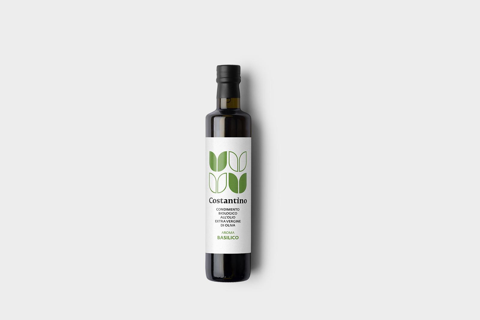Costantino - Condimento Biologico a base di Olio Extra Vergine d'Oliva e Basilico - bottiglia 25cl